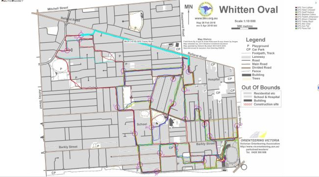 Whitten Oval Course A routes 22-05-2018